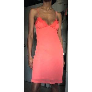 Coral Crêpe Slip Dress
